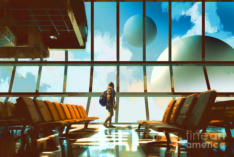 Fiction Digital Art - Young Girl Walking In Airport Looking by Tithi Luadthong