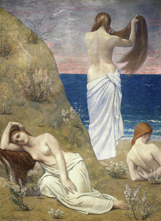 Pegasus Painting - Young Girls By The Seaside - Digital Remastered Edition by Pierre Puvis de Chavannes