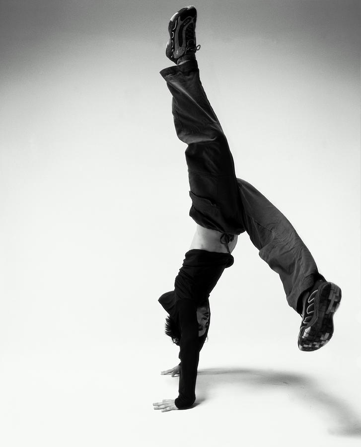 Young Japanese Man Breakdancing  B&w Photograph by Karen Moskowitz