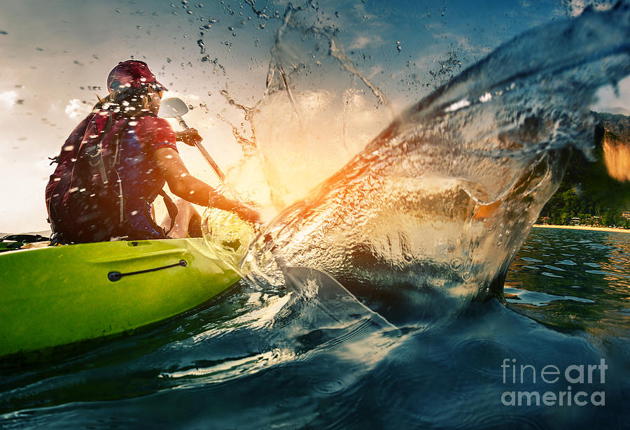 Drop Photograph - Young Lady Paddling Hard The Kayak With by Dudarev Mikhail