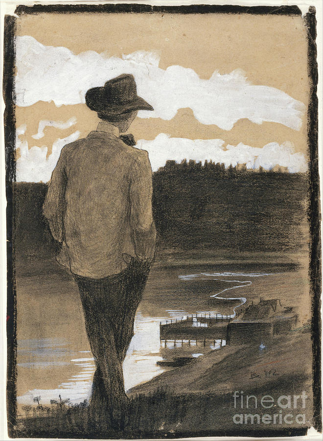 Young Man On A Riverbank Drawing by Heritage Images