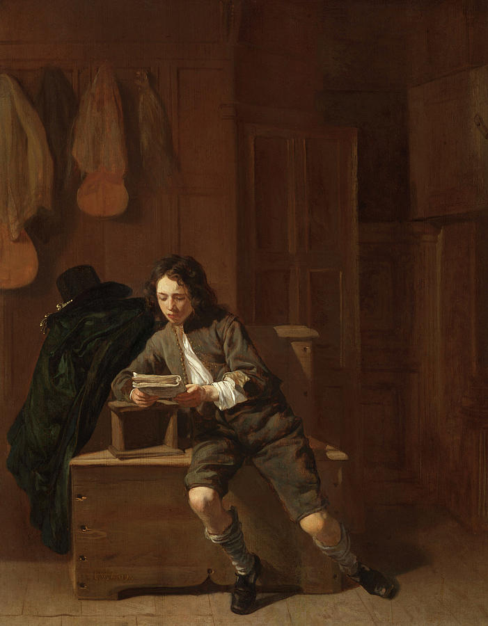 Loo Painting - Young Man Reading by Jacob van Loo