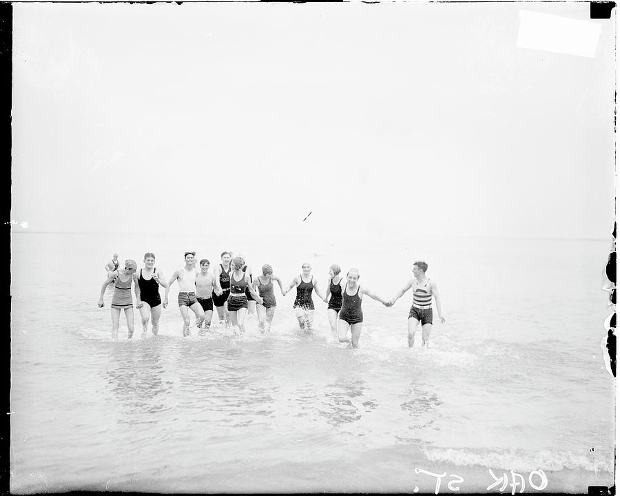 Young Men And Women At The Beach Photograph by Chicago History Museum