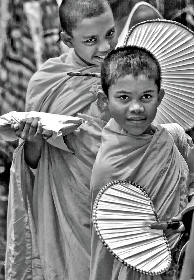 Young Monks Bw Photograph