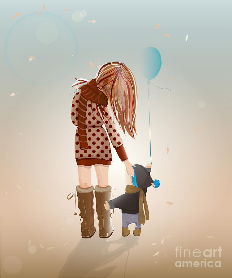 Love Digital Art - Young Mother With A Child Walking by Popmarleo