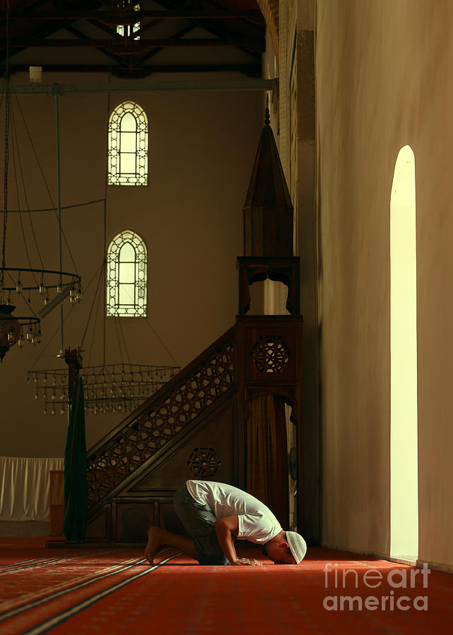 Allah Photograph - Young Muslim Man Praying In Mosque By by Saida Shigapova