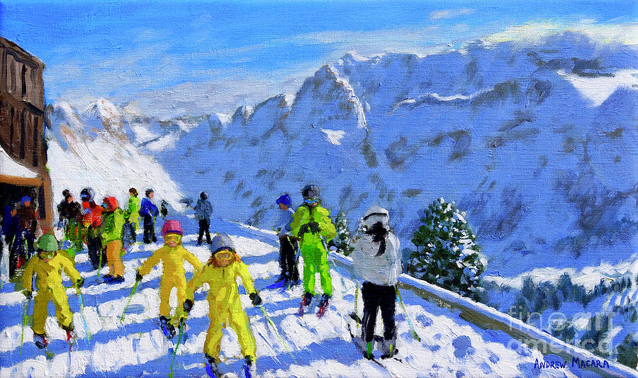 Ski School Painting - Young Skiers In Yellow, Val Gardena, Italy by Andrew Macara