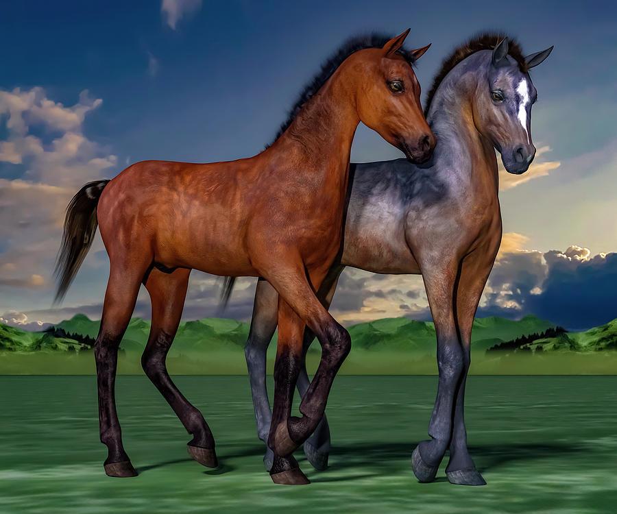 Foals Digital Art - Young Spirits by Betsy Knapp