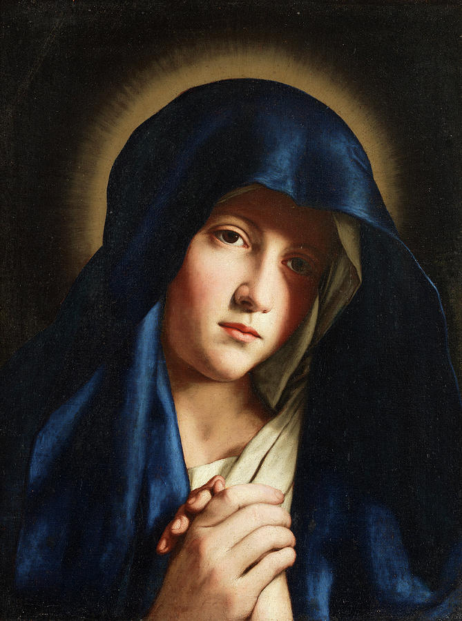 Virgin Mary Painting - Young Virgin Mary by Giovanni Battista Salvi da Sassoferrato