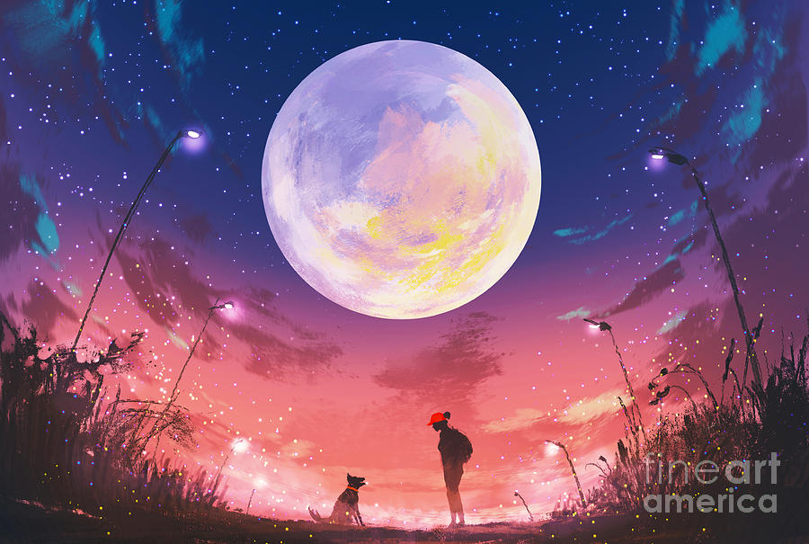 Friendship Digital Art - Young Woman And Dog At Beautiful Night by Tithi Luadthong