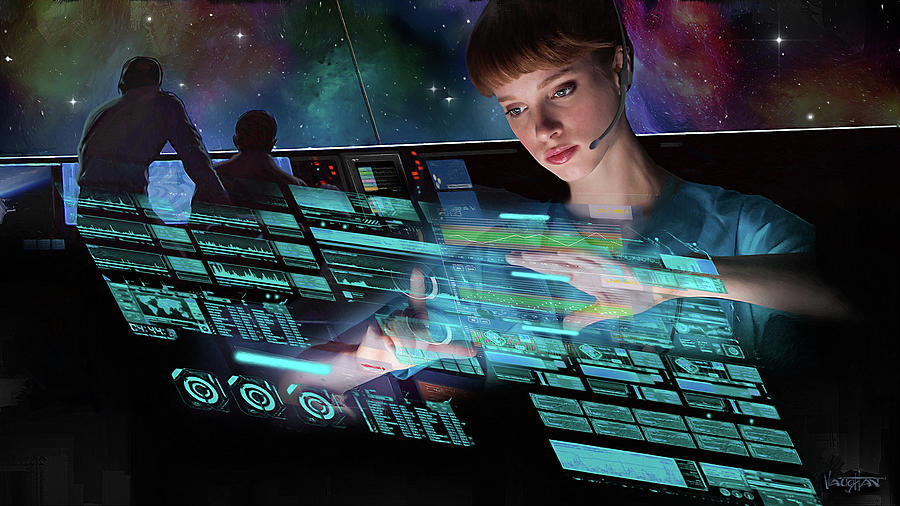 Young Woman Mission Control by James Vaughan