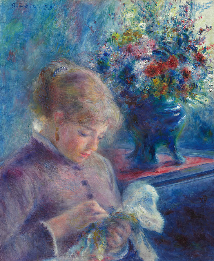 French Painters Painting - Young Woman Sewing by Auguste Renoir
