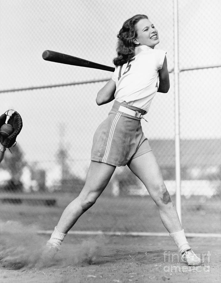 Persevere Photograph - Young Woman Swinging A Baseball Bat In by Everett Collection