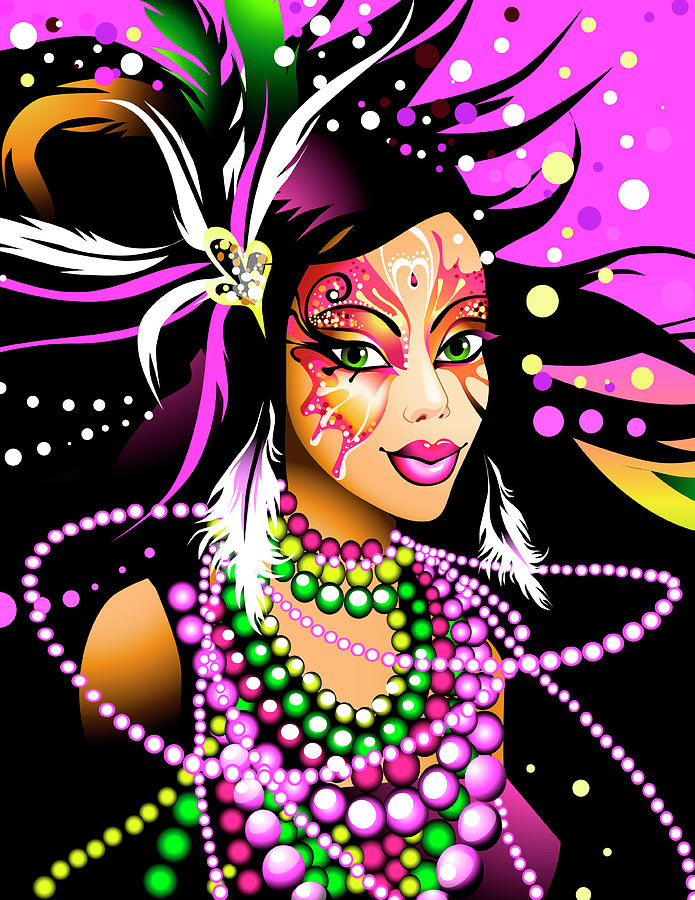 Young Woman Wearing Mardi Gras Beads Digital Art by New Vision Technologies Inc