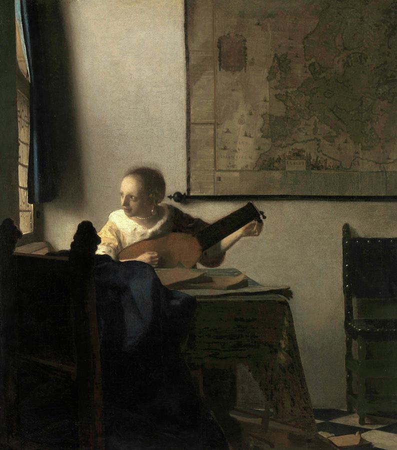 Jan Vermeer Painting - Young Woman With A Lute, 1663 by Jan Vermeer