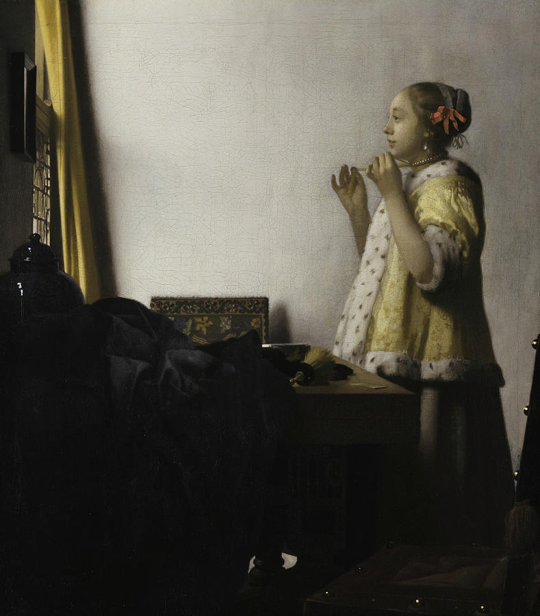 Johannes Vermeer Painting - Young Woman With A Pearl Necklace, 1662 by Johannes Vermeer