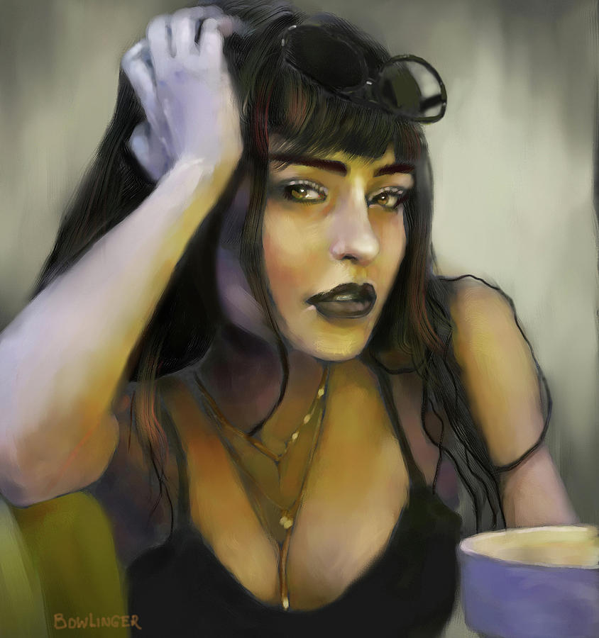 Young woman with the dark lips by SCOTT BOWLINGER