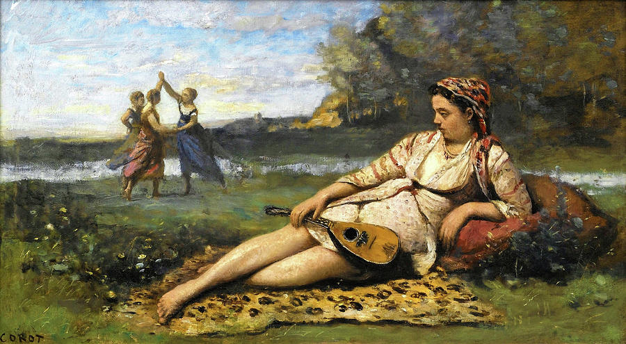 Ukulele Painting - Young Women Of Sparta - Digital Remastered Edition by Jean-Baptiste Camille Corot