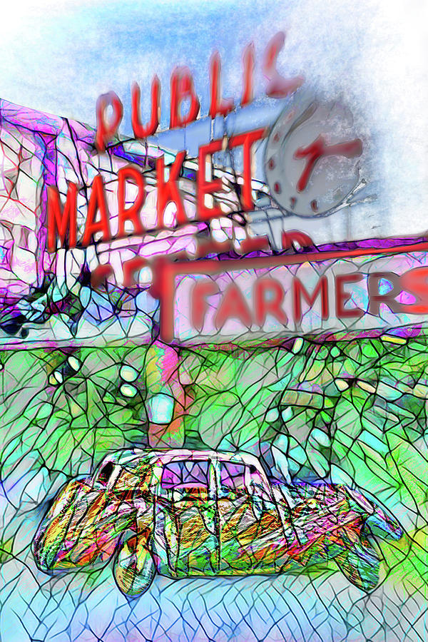 Your Limo Waits At Seattle Farmers Public Market  by Scott Campbell