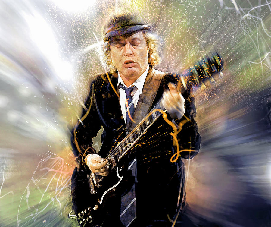 Angus Young Digital Art - Youve been thunderstruck by Mal Bray