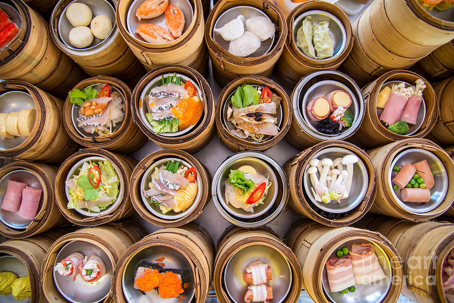 Container Photograph - Yumcha, Dim Sum In Bamboo Steamer by Martinho Smart