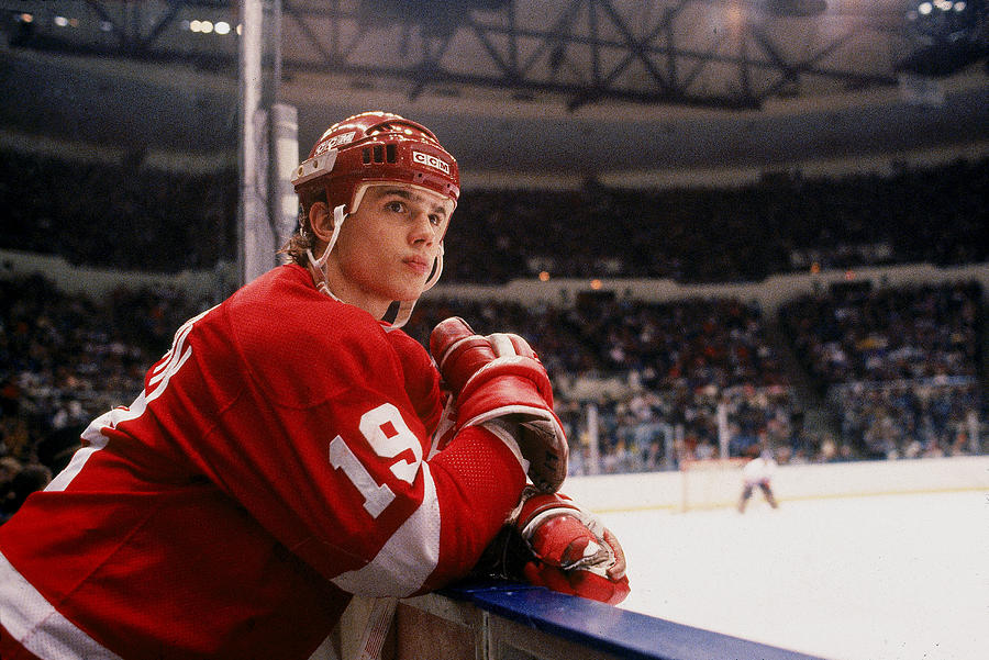 Yzerman Watches From The Boards Photograph by B Bennett