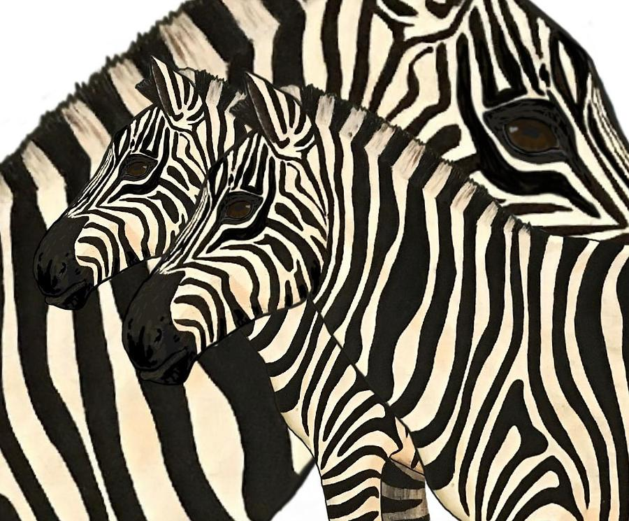 School Painting - Z Is For Zebras by Joan Stratton