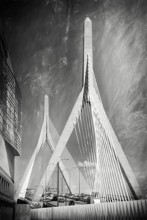 Boston Photograph - Zakim Bridge Boston Massachusetts Black And White by Carol Japp