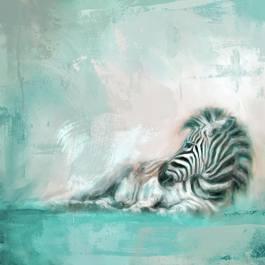 Zebra At Rest Coastal Colors by Jai Johnson