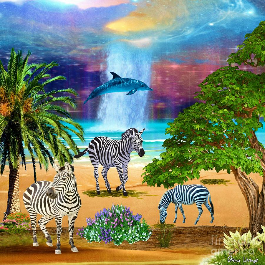 Zebra Beach at Heaven Falls by Gena Livings
