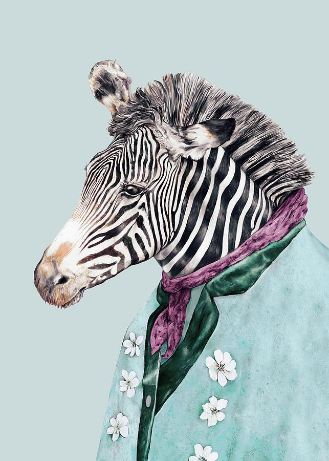 Boho Painting - Zebra Blue by Animal Crew