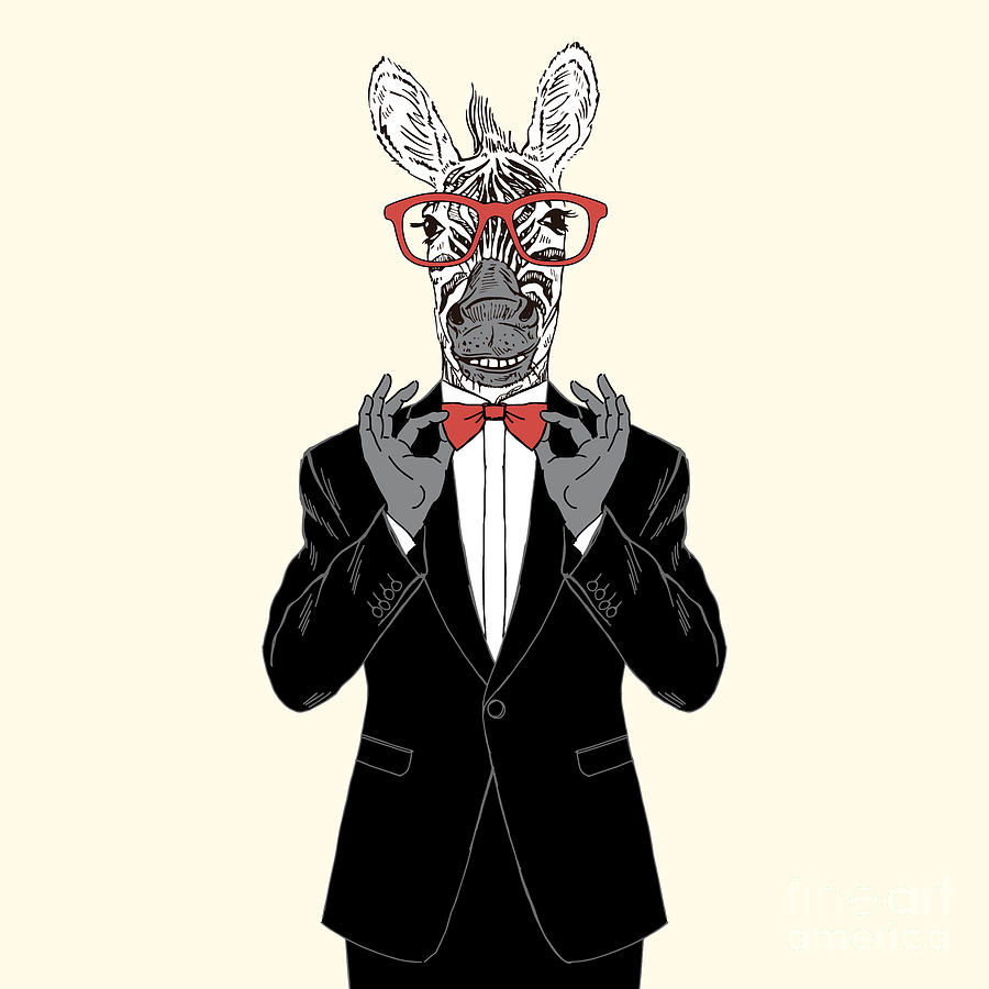 Dress Digital Art - Zebra Gentleman Adjusting His Bow Tie by Olga angelloz