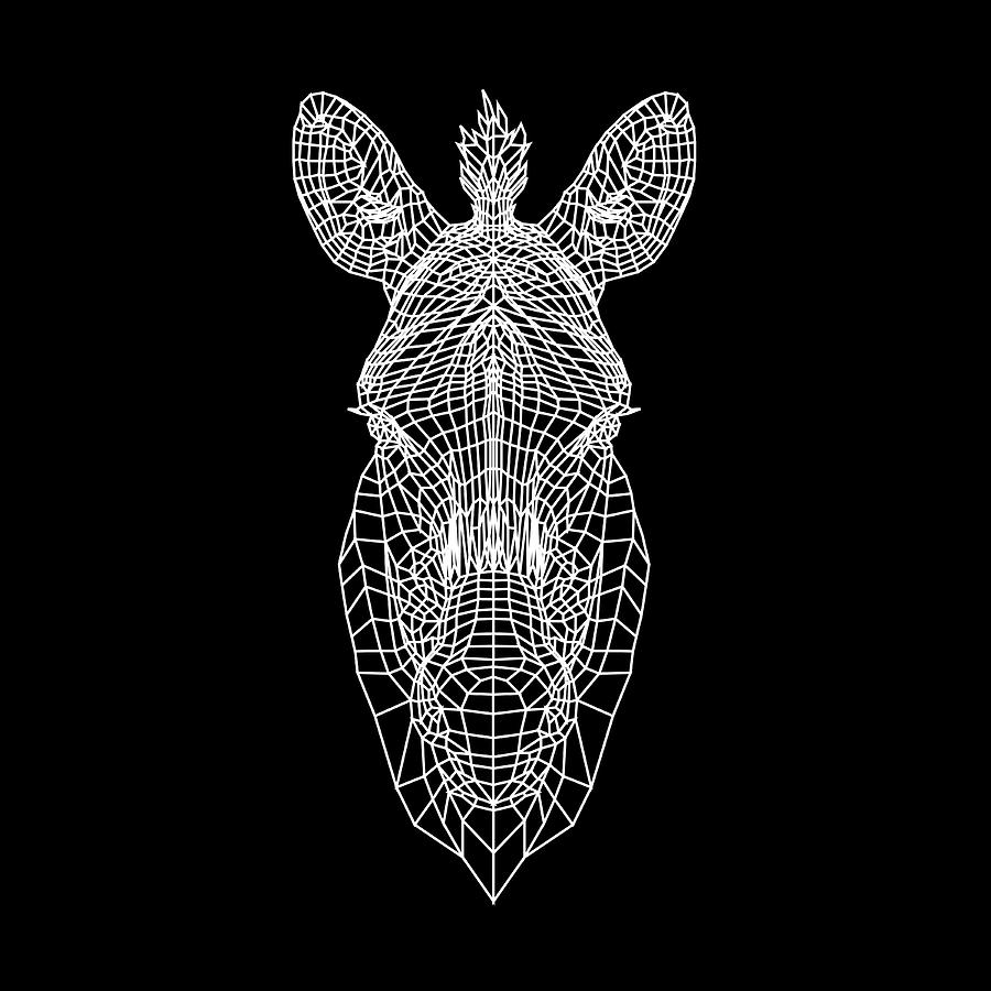 Zebra Digital Art - Zebra Mesh by Naxart Studio