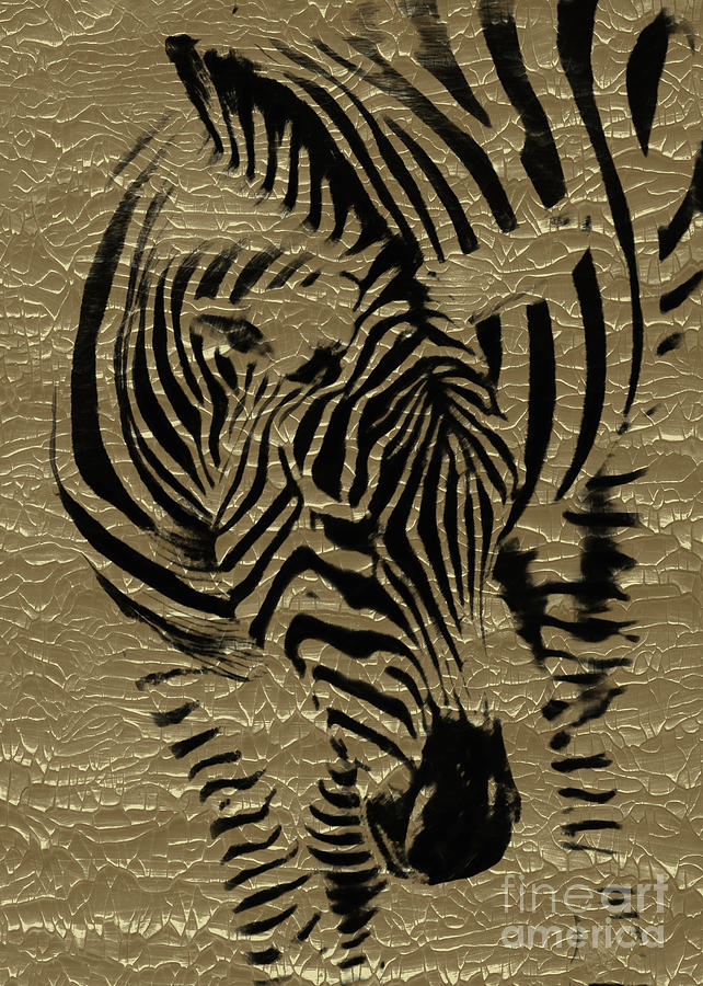 Zebra on Golden by Hal Halli