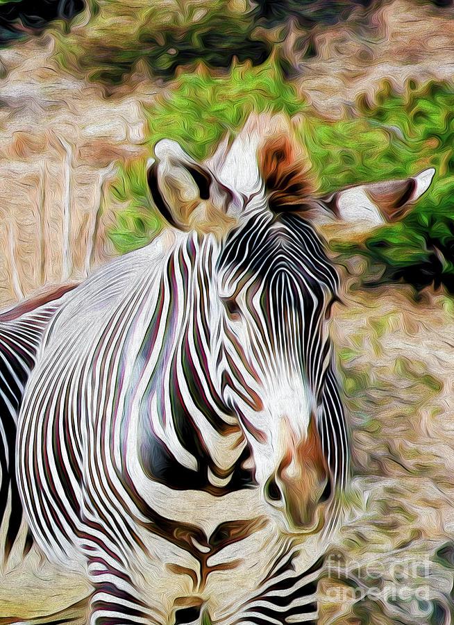 Zebra Rendition I Digital Art by Kenneth Montgomery