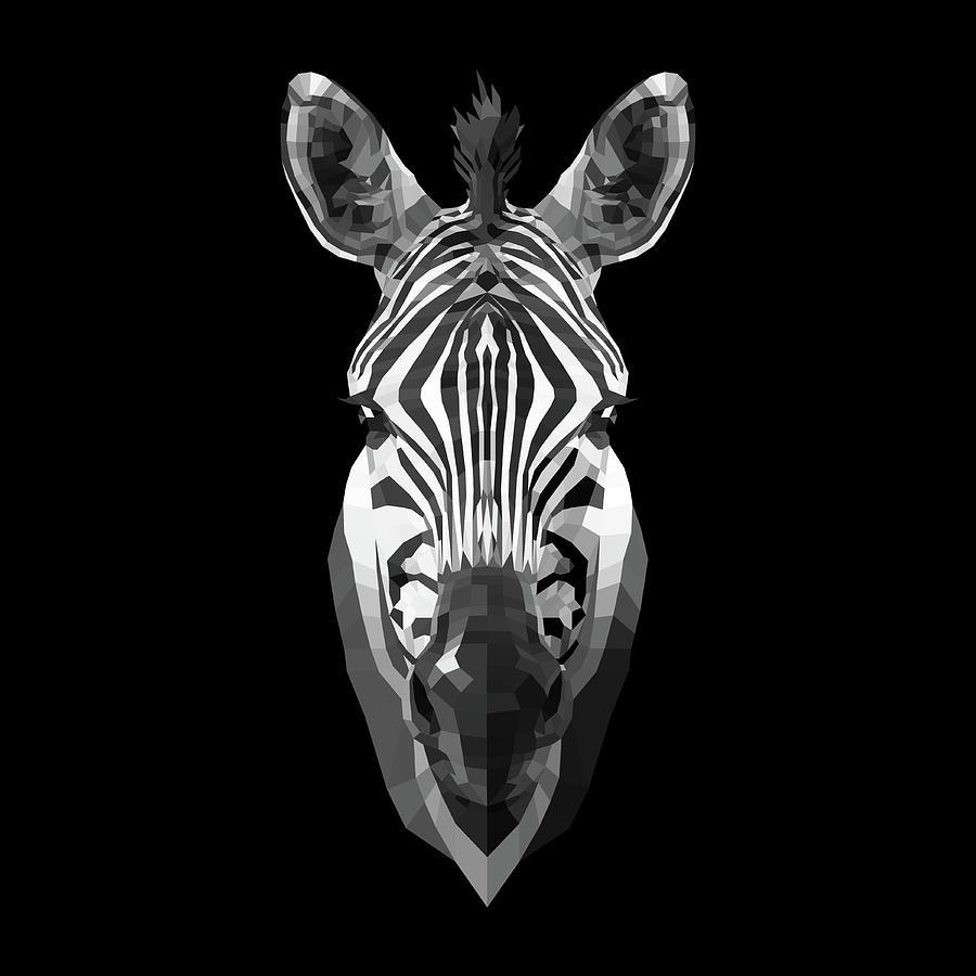 Zebra Digital Art - Zebras Face by Naxart Studio