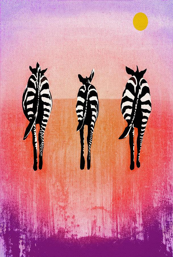 Zebras Digital Art - Zebras by Regina Wyatt