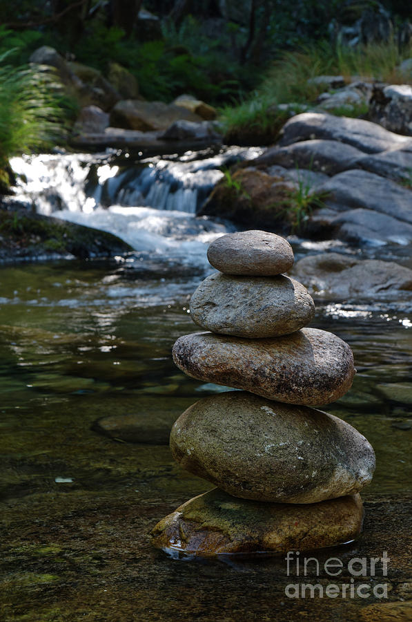 Water Mill Photograph - Zen Rocks In Gralheira River And Water Flow 2 by Angelo DeVal