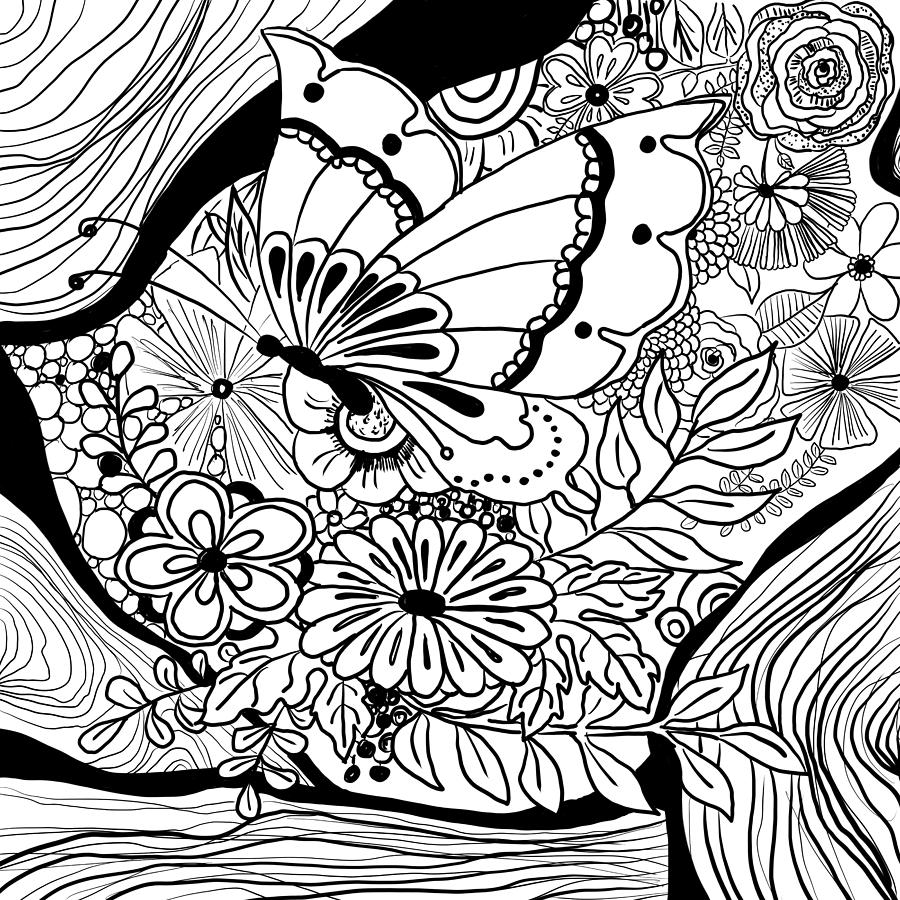 Zendoodle butterfly black and white