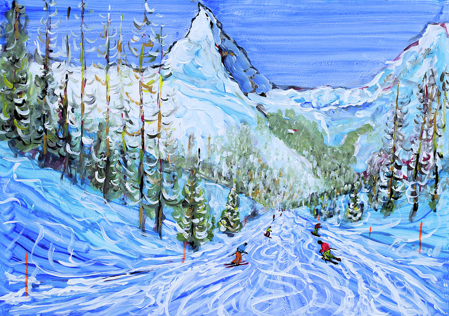 Zermatt Painting - Zermatt Ski Print by Pete Caswell