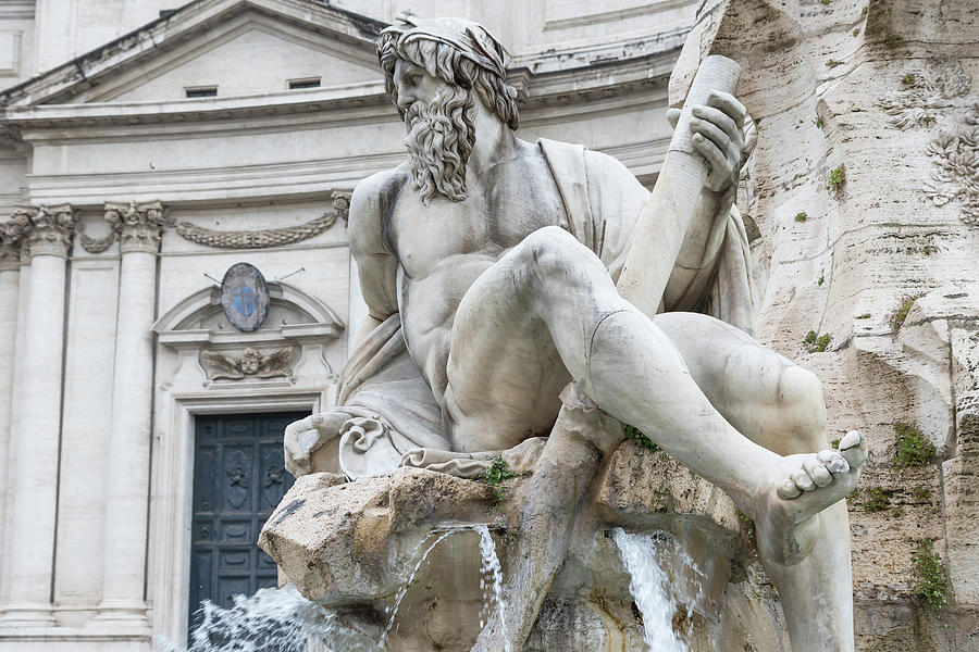 Zeus Statue In Bernini's Fountain Of The Four Rivers In The Piaz