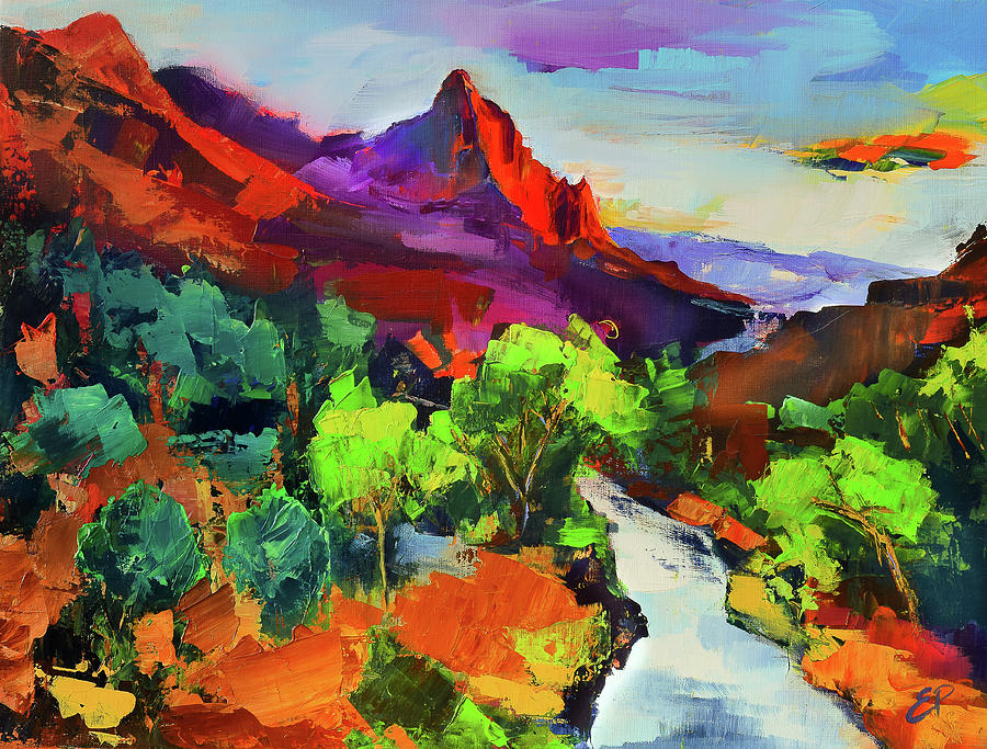Zion - The Watchman and the Virgin River Vista by Elise Palmigiani