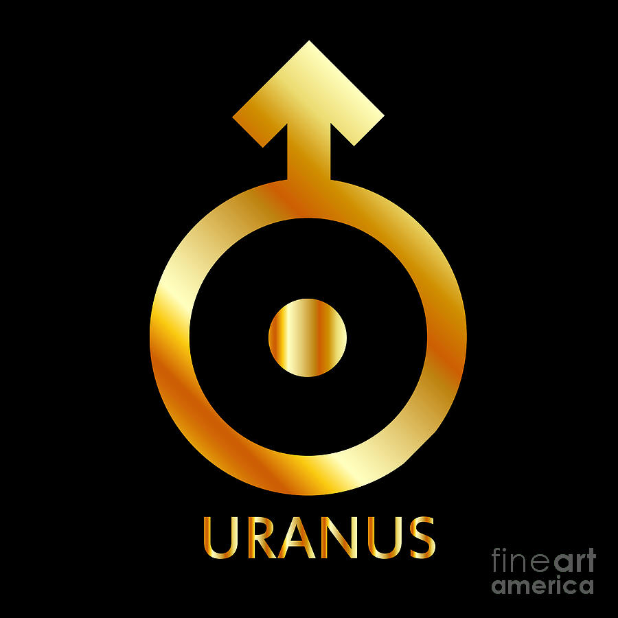 Zodiac And Astrology Symbol Of The Planet Uranus In Gold Colors-  Astronomical Icon
