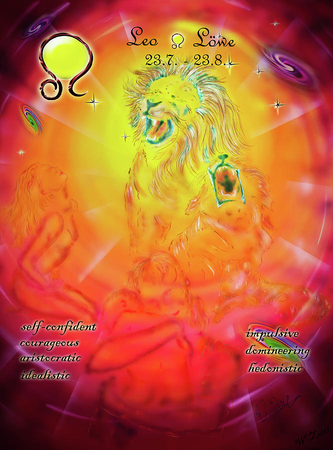 Zodiac Sign Leo  3 Mixed Media
