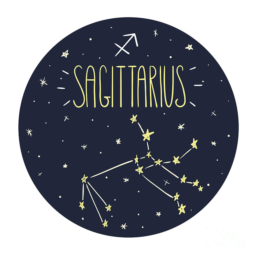 Symbol Digital Art - Zodiac Signs Doodle Set - Sagittarius by Radiocat