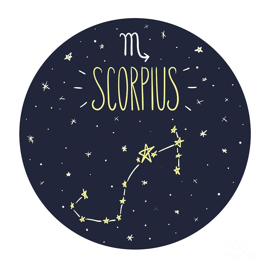 Symbol Digital Art - Zodiac Signs Doodle Set - Scorpius by Radiocat