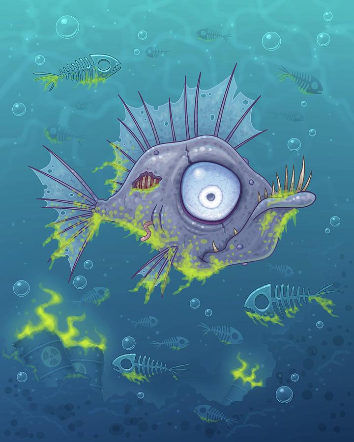 Zombie Fish Digital Art
