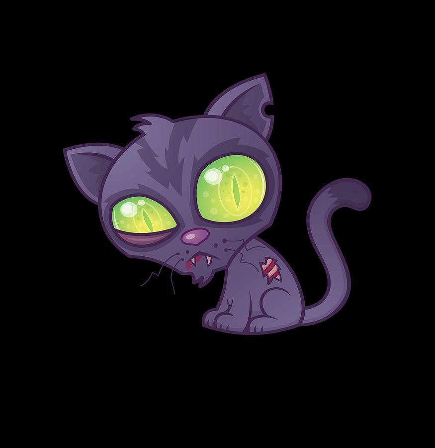 Cat Digital Art - Zombie Kitty by John Schwegel