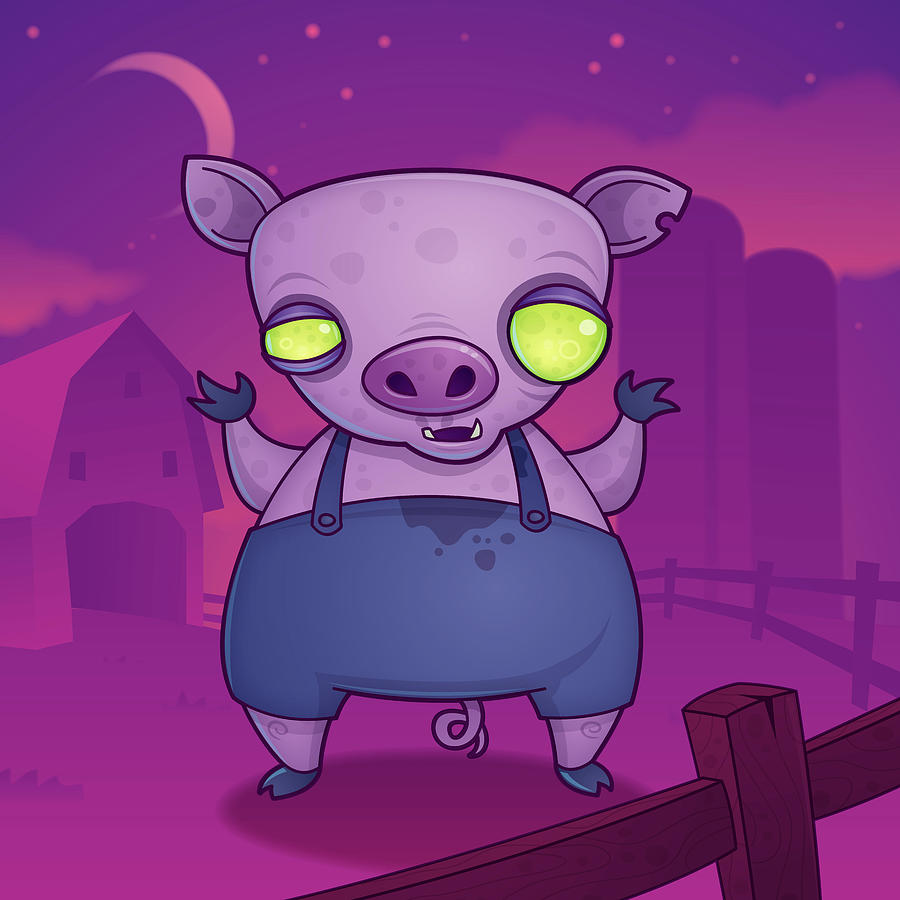 Zombie Pig Digital Art