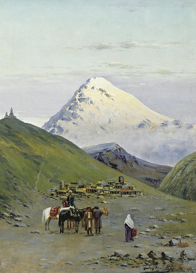 Nature Painting - zommer, richard karlovich - Caravanserai at the Foot of Mount Kazbek 2 by Celestial Images